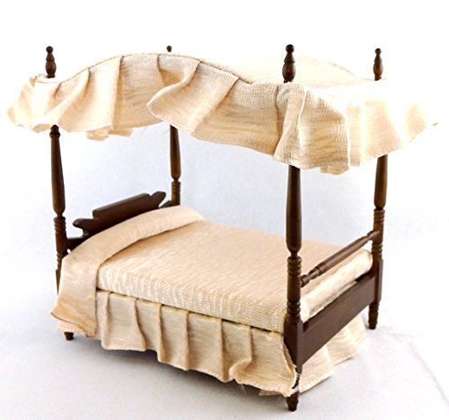 Melody Jane Puppenhaus Walnuss Doppelt 4 Poster Baldachin Bett Miniatur 1:12 Schlafzimmer Möbel - Schlafzimmer Möbel Baldachin