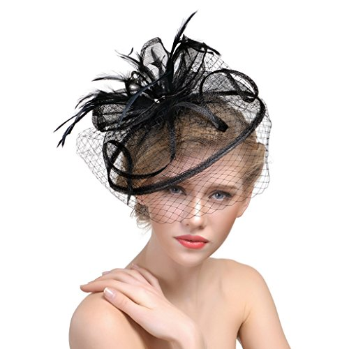 Womens Feather Schleier Fascinator Bowler Hut Derby Tee Party Cocktail Hut Hochzeit Pillbox Hut Haar Clip mit (Hut Mit Mini Top Schleier)