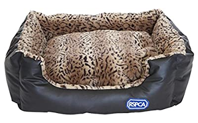 RSPCA Rectangular Faux Leopard Print Leather Dog Bed, Large, Brown
