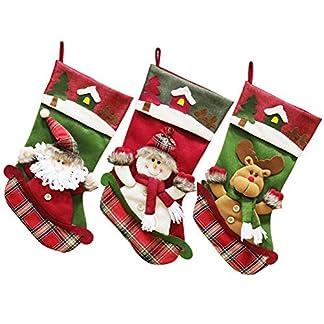 Zaeel Adornos Navidad, Decoracion Navideña, Colgante de Papá Noel Calcetín de Navidad Papá Noel/Reno/Muñeco de Nieve 3pcs