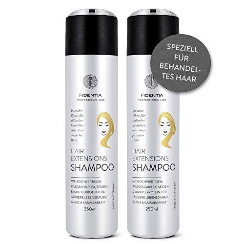 Fidentia Hair Extensions Shampoo Intensiv   befreit von Silikonen   Mandel- &Seidenprotein   für Echthaar Tressen, Haarteile und Perücken   2 x 250 ml