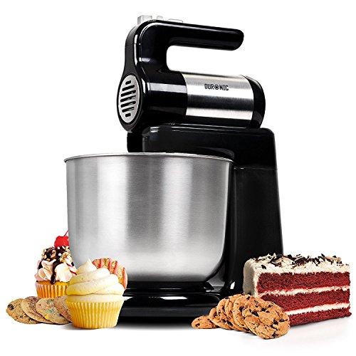 Duronic SM3 Elektrische Küchenmaschine/Standmixer / Rühr- und Knetmaschine/Teigmaschine / Mixer/Standmixer mit 4L Edelstahlschüssel, Rührhaken, Schneebesen und Knethaken, 300W
