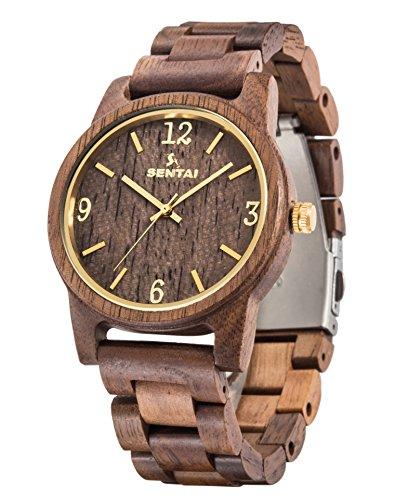 Orologio in legno unisex sentai orologi in legno naturale di noce orologio al quarzo fatto a mano per donne e uomini con una grande faccia chiara e figure chiare accessori in metallo marrone