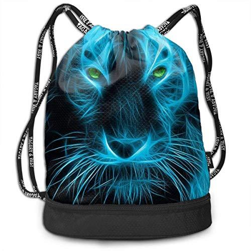 hen,Turnbeutel,Daypacks, Funny Unisex Drawstring Beam Backpack Blue Cool Tiger Print Backpack ()