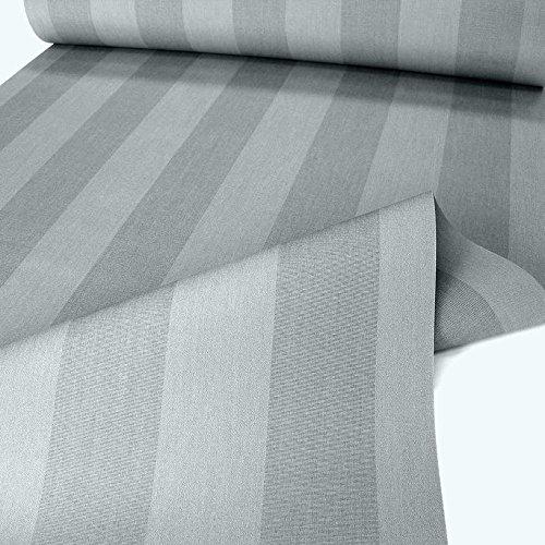 TOLKO Sonnenschutz Markisen-Stoffe als Meterware für Terrassen-Überdachung und Beschattung | mit UV-Schutz 50+ | Wasserdicht, Extra Langlebig - Ohne Ausbleichen - 120cm breit (Grau Gestreift)