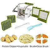 Apestool Coupe frites et Légumes avec 2 lames en acier inoxydable pour différentes tailles de coupe