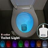 Snatchcz Luce Notturna per Bagno A Forma di Toilette con Sensore di Movimento Umano A 8 Colori