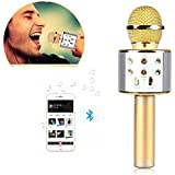 Brobeat WS-858 Wireless Portable Handheld Singing Machine Condenser Microphones Mic And Bluetooth Speaker Audio Recording (Assorted Colour)