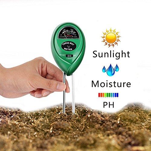 Boden PH-Messgerät, Vimmor 3-in-1 Boden Tester Kit Feuchtigkeit Boden Meter mit Licht, PH & Acidity Meter Gartengeräte für Pflanzen, Rasen, Farm, Einfach Lesen Anzeige (Kein