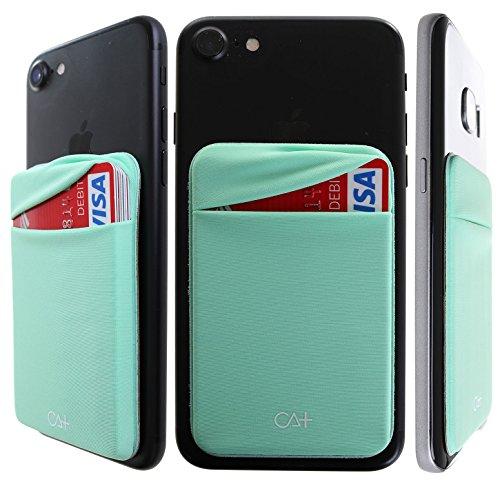 ckel Kreditkarte Holder Stick auf Wallet diskret ID Holder Lycra Spandex für die Smartphones, iPhone Galaxy Handy Brieftasche Fall 3m Selbstklebend, Mint ()