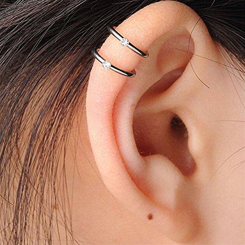 fake piercing ohr helix Edelstahl Fake Piercing 2 Row Helix Knorpel Stulpe Verpackungs Ohrring Klipp Auf