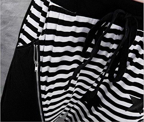 ACME - Femme Baggy Sarouel Hippie Pantalon Jazz Hip hop Jogger Danse Harem pants Sport pants Trousers Taille Unique Noir 3