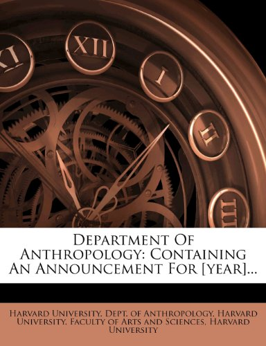 Department Of Anthropology: Containing An Announcement For [year]...