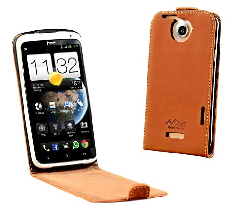 Akira Handmade Original PREMIUM Echtleder Flip Case für HTC One X Braun
