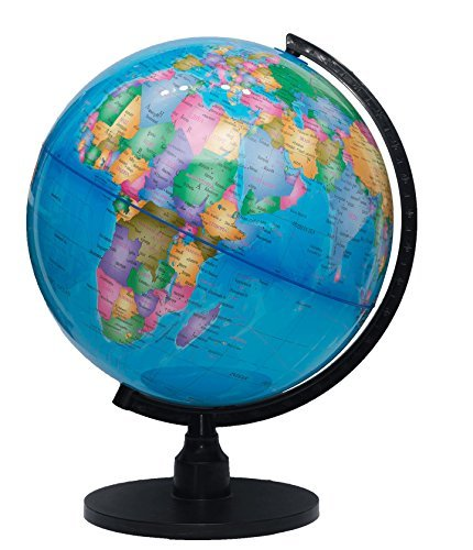 """The Flower of Life World Globe - 12.6"""" (32cm) Large Desktop Atlas with Stand - A Rotating Earth with Blue Oceans & Political Maps for Educational Geography - Real Modern Look Globes for Kids & Adults"""