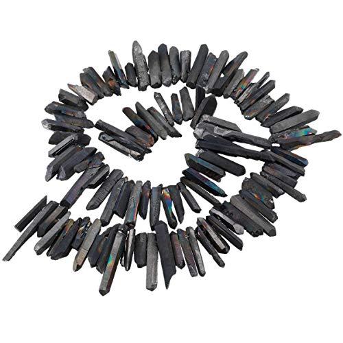 KYEYGWO Titanium Beschichtet Kristall Punkt Perlen Grobe Stein Sticks Spikes Natürliche Quarz Gebohrt 15 Zoll Strang Lose Perlen für Schmuck Machen (15 Stein)