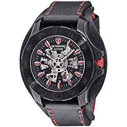 Detomaso Men's Automatic Watch ROTORE Analog Black/Red Leather DT2061 A