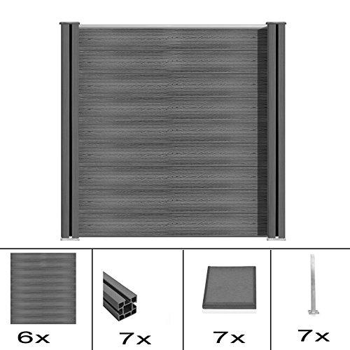 S SIENOC WPC Zaun WPC-Zaun Bildschirm-Zaun Garten Zaun Terrace (6X Element + 7X Pfosten, Grau 180cm) (Kappen X 6 6 Post)