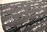 Stoff / Meterware / ab 25cm / beste Jersey-Qualität / Jersey PINIDI Bagger, Baustelle, Kipplaster, Baufahrzeuge schwarz weiß auf grau