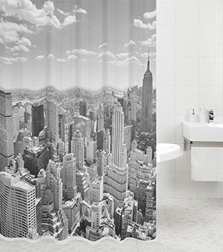 Duschvorhang Skyline New York 180 x 180 cm, hochwertige Qualität, 100% Polyester, wasserdicht, Anti-Schimmel-Effekt, inkl. 12 Duschvorhangringe