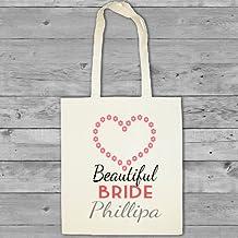 Algodón de personalizado de tu propio vestido de dama de honor bolsa de regalo de bolsa para herramientas de bolsa de la compra mango largo diseño de corazón con flecha