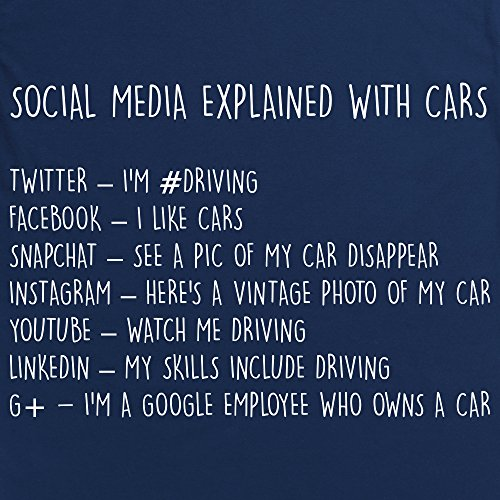 Social Media Explained - Cars T-Shirt, Herren Dunkelblau