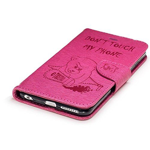 iphone 6s plus Hülle Leder, LuckyW PU Leder Don't Touch My Phone Bär Hülle für Apple iPhone 6 Plus/6s Plus(5.5 zoll) TPU Soft Rückseite Abdeckung Ledertasche Brieftasche Flip Wallet Case Kuntsleder im Rot 1