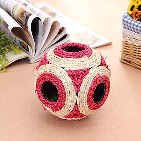 Suministros para mascotas gato de los juguetes de la bola Gato con cáñamo, sisal Bola Con Las Plumas bola anillo de los juguetes del gato ( Color : Rojo )