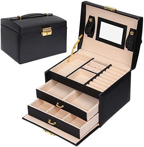 Schmuckkästchen,Kosmetikkoffer mit 3 Ebenen,PU Leder,Abschließbarer Schmuckkasten mit Spiegel,Geschenk für Mädchen und Damen