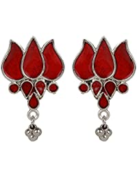 DS German Silver Lotus Design Party Wear Stud Earrings For Women And Girls(DS357)