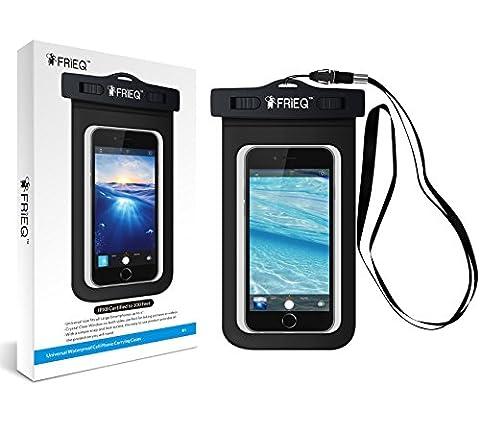 FRiEQ Etui étanche universelle pour activités extérieures- Parfait pour pour le canotage/ faire du Kayak/ faire du Rafting/ Nager- sac étanche/ Pochette étanche/ Sac sec pour Apple iPhone 6S, 6, 5S, 5C, 5 ; Galaxy S6, S4, S3 ; HTC One X, Galaxy Note 2 ; LG G2 - Protège votre téléphone cellulaire ou lecteur MP3 de l'eau, sable, poussière et saleté - Certifié IPX8 jusqu'à 30 mètres