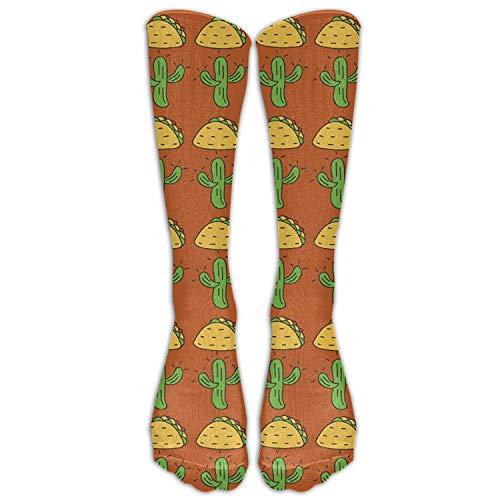 Benutzerdefinierte lustige Strümpfe mexikanischen Kaktus Taco Essen Muster Schuh Mädchen Jungen Knie lange Socken Reisen atmungsaktiv - Knie-boot-liner-socke