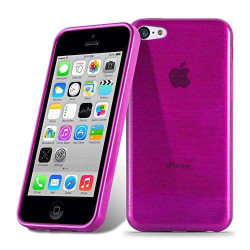 Preisvergleich Produktbild Cadorabo Hülle für Apple iPhone 5C - Hülle in PINK – Handyhülle aus TPU Silikon in gebürsteter Edelstahloptik (Brushed) Silikonhülle Schutzhülle Soft Back Cover Case Bumper