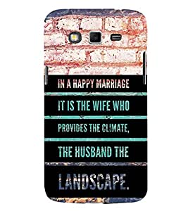 Fiobs Designer Back Case Cover for Samsung Galaxy Grand Neo I9060 :: Samsung Galaxy Grand Lite (Marriage Wedding Happy Wife Husband Love Climate )