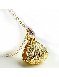 Graceful Carcasa de plata de ley miel Natural ámbar con incrustaciones de color ámbar colgante collar 18pulgadas cadena de plata