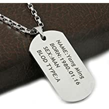 Gambulin Titanium Steel Personalized Custom Name Dog Tag Pendant Necklace,Titanium Necklace for Men,