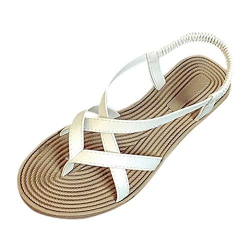 Transer ® Fashion femmes Bandage Bohême été Peep-toe faible sandales tongs Blanc