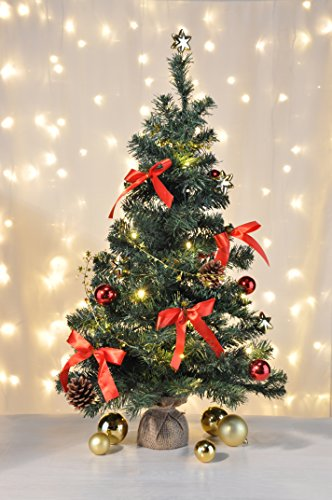 Bambelaa! Künstlicher Weihnachtsbaum Christbaum 75cm komplett geschmückt dekoriert mit Kugeln, Sternen, Tannezapfen, Schleifen, Girlande 20er LED Lichterkette 1 Stück Batterie (versch. Farben) (Rot/Gold)