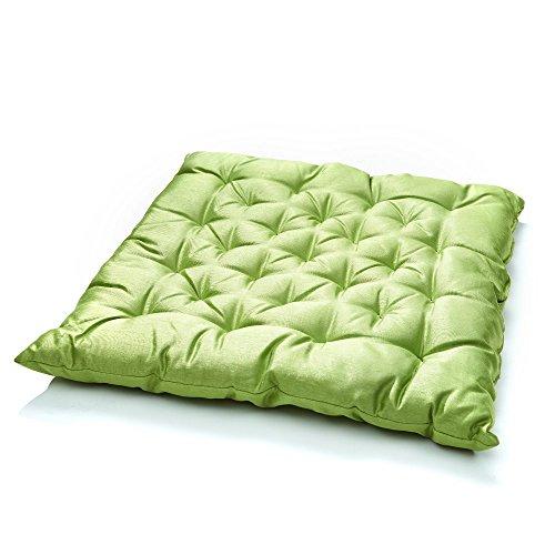 Baumwoll-satin-matratze-auflage (6er Pack Stuhlkissen Matratzenkissen Bodenkissen Sitzkissen, Auflage, 40 x 40, Farbe:GRÜN)