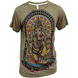 Yoga Shirts – Omtimistic Hombre Ganesh Graphic T-Shirt Aceituna Large