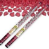 2x Rosenregen mit roten Rosenblättern 80 cm lang Konfettikanone Konfettishooter für Hochzeit Konfettibome Partypopper