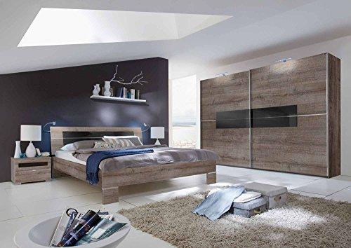 Schlafzimmer, Schlafzimmermöbel, Set komplett, Komplettset, Schlafzimmereinrichtung, Einrichtung, 3-teilig, Schlammeiche, Glas, Schwarzglas, Glas