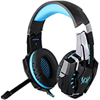 KOTION EACH G9000 Computer Gaming Headset PS4 Cuffie PC Gaming Auricolare fascia con Mic Luce LED, USB 7.1 Surround Sound Version PC Headset Stereo Noise Isolation and 3.5mm Audio Jack Cable for PS4, Laptop, Tablet, Mobile Phones (Nero & Blu)