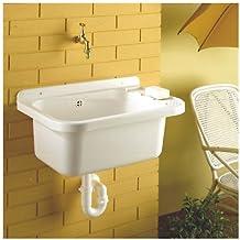 Pila de 510 x350 de plástico lavado jardinera con jabonera incluye válvula, tapón y desagüe sifón fabricado en la UE