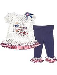 a147350fe Blueberi Boulevard - Set de 2 Piezas de Vestido Escalonado y Leggings para  bebé de 18