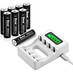 BONAI 4 Bay LCD Piles Rechargeables Chargeur pour AA/AAA NiMH/NiCD Rechargeables Piles avec 8 Pack 2800mAh AA Batteries