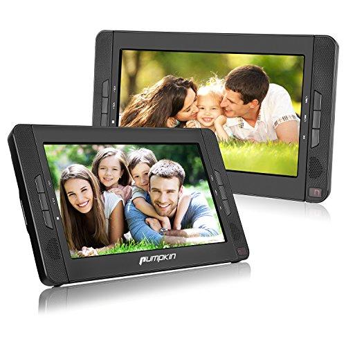 Pumpkin Double Ecrans d'Appuie-tête 10,1 Pouce (Deux Lecteurs DVD) Résolution 1024 * 600 HD Batterie Rechargeable 2700MAH avec Etui de Montage dans Voiture