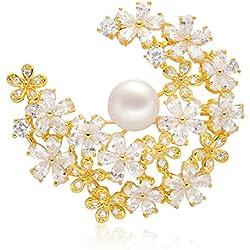 Epinki Joyería Chapado en Platino Broches para Mujer Flor Racimos Circonita Perla Oro Broches