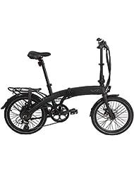 "Wabbikes - Bicicleta eléctrica plegable HUGO. Cambios SHIMANO, ruedas de 20"", cuadro de aluminio, Batería Litio 36V 10Ah (Negra)"