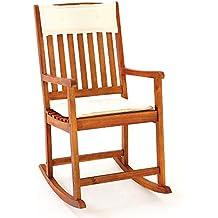 Chaise Rocking chair en bois dur Acacia avec coussins amovibles Chaise bascule adulte
